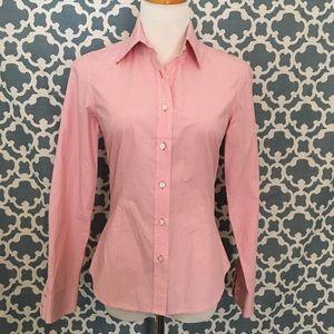 J. McLaughlin Pink Checked Cotton Blouse 4